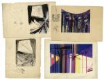 Ray Bradbury Lot of 4 Concept Artworks by Joseph Mugnaini -- 2 Drawings for The Halloween Tree & 2 Lithographs for Setwork of One of Bradburys Stage Plays