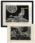 "Ray Bradbury Personally Owned Art by Joseph Mugnaini -- Pair of Etchings Entitled ""Baroque"" & ""Baroque With Red Mama"""