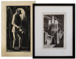 Ray Bradbury Personally Owned Art by Joseph Mugnaini -- Lot of Two Piece: Modern Gothic Limited Edition Signed by Mugnaini & The Stone Mason Also Signed
