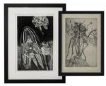 Ray Bradbury Personally Owned Pair of Limited Edition Prints by Mugnaini -- The Hero & Metaphor