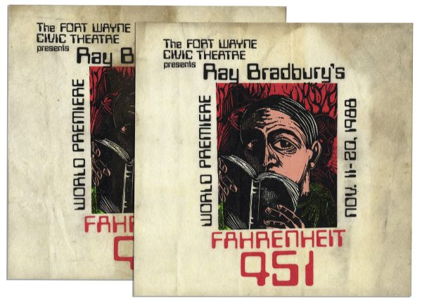 Ray Bradbury Owned Pair of Block Relief Art Prints for the Stage Play of ''Fahrenheit 451'' -- Both Measure 14'' x 14'' -- Toning to Top Edge, Else Near Fine -- With COA From Estate