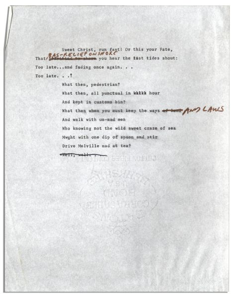 Ray Bradbury Original Poem With His Hand Notations & Corrections -- ''...Where creeks electric flow which drunk through hand or foot...''