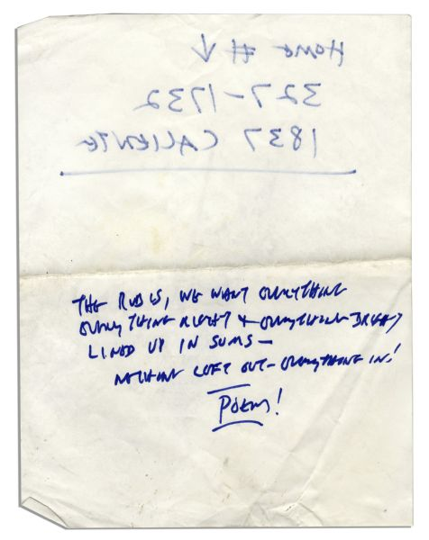 Ray Bradbury Handwritten Poem -- ''The Rubes, we want everything everything right and everything bright /  lined up in sums -- nothing left out -- everything in! / Poem!''