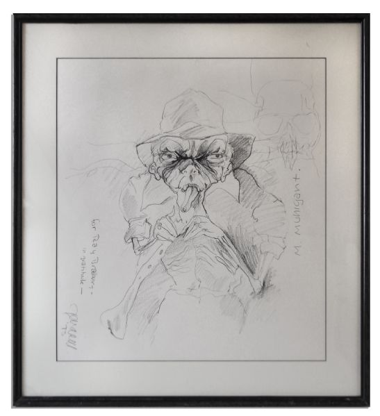 Ray Bradbury Owned Charcoal Sketch of His Character Munigant From ''The October Country'' -- Framed to 28.75'' x 31'' -- Plus an Unrelated Frame Proof, 1/200 -- Near Fine -- COA From Estate