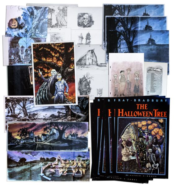 Ray Bradbury Personally Owned Folio of ''The Halloween Tree'' Concept Art