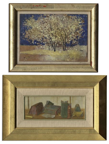 Ray Bradbury Owned Lot of Two Small Paintings -- One Depicts Colorful Books on a Desk -- Largest Measures 12.25'' x 8'' -- Near Fine -- With COA From Estate