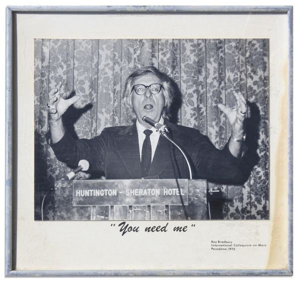 Ray Bradbury Personally Owned Cover Art Signed for His Short Story Collection, ''The Cat's Pajamas'' -- With a Photo of Bradbury Speaking in 1973 at the International Colloquium on Mars