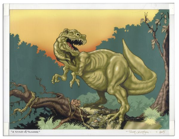 Ray Bradbury Owned Print Inspired by ''A Sound of Thunder'' & Dinosaur Figure -- Art Framed to 14.25'' x 11.25'', Dinosaur Measures 19.5'' From Nose to Tail -- Near Fine -- COA From Estate