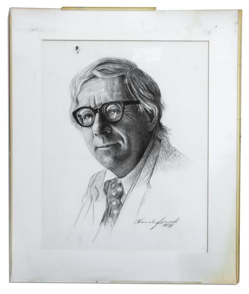 Ray Bradbury Personally Owned Portrait Sketch & Signed Limited Edition Poster Featuring His Poem, ''Then All Is Love? It Is, It Is!''