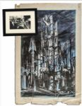 Ray Bradbury Personally Owned Mugnaini Signed Ink Drawing From The Halloween Tree -- Plus Mugnaini Signed The Tower Artist Proof Measuring 22.75 x 34.75