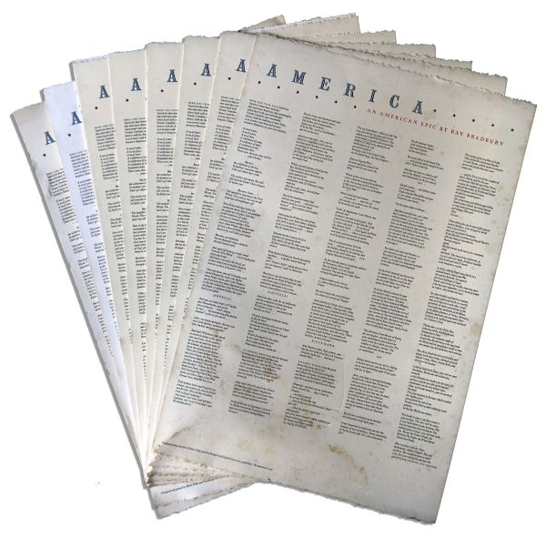 Ray Bradbury Personally Owned Lot of Presentation Posters of His Poems -- ''America'' & ''The Poet Considers His Resources''