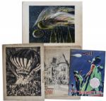 Bradbury Owned Art -- Dark Carnival Litho, Dark April Witch Litho, Martian Chronicles Comic & Newspaper of Mugnaini Art -- Largest Is 26 x 20 -- Very Good -- COA From Estate