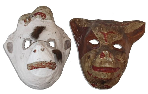 Lot of 4 Costume Masks From Ray Bradbury's Collection -- Puma Mask, Hand-Painted Cat & Simian Masks -- And a Rubber Cowl-Style Monster Mask -- With COA From Estate