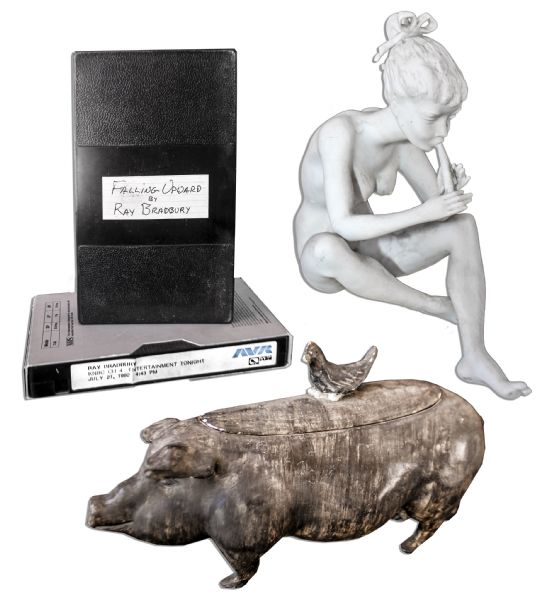 Ray Bradbury Personally Owned Lot of Four Items -- Ceramic Pig Lidded Container, Small Sculpture of a Girl & Two VHS Tapes -- Largest Measures 10'' x 2.5'' x 4'' -- With COA From Estate