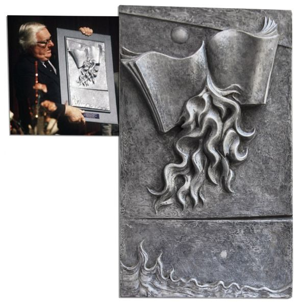 Ray Bradbury Owned ''Fahrenheit 451'' Metal Tablet With Art in Relief -- Presented to Bradbury by the Artist in November 1988 -- Measures 12.75'' x 21.5'' -- Weighs 11 Lbs -- COA From Estate