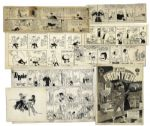 Lot of 8 Pieces of Comic Art -- Tippie, Far Frontier, Sun & Sand, Alley Oop, a Comic by Al Smith & Drawing by Michele -- From Ray Bradburys Personal Collection