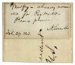 Abraham Lincoln Civil War Dated Autograph Note Signed -- Discussing a Political Appointment