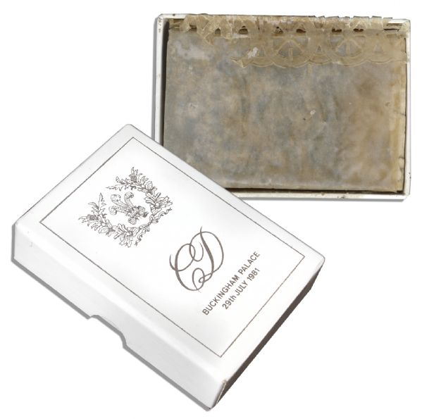 Extremely Rare Prince Charles and Princess Diana Royal Wedding Cake Slice -- Includes Original Presentation Box With Silver Gilt Design