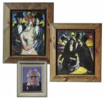 Ray Bradbury Owned Lot of Paintings -- 2 Color Paintings by French Artist Pascal Papisca -- One Framed Portrait of Bradbury -- Largest Measures 22 x 25 -- Near Fine -- COA From Estate