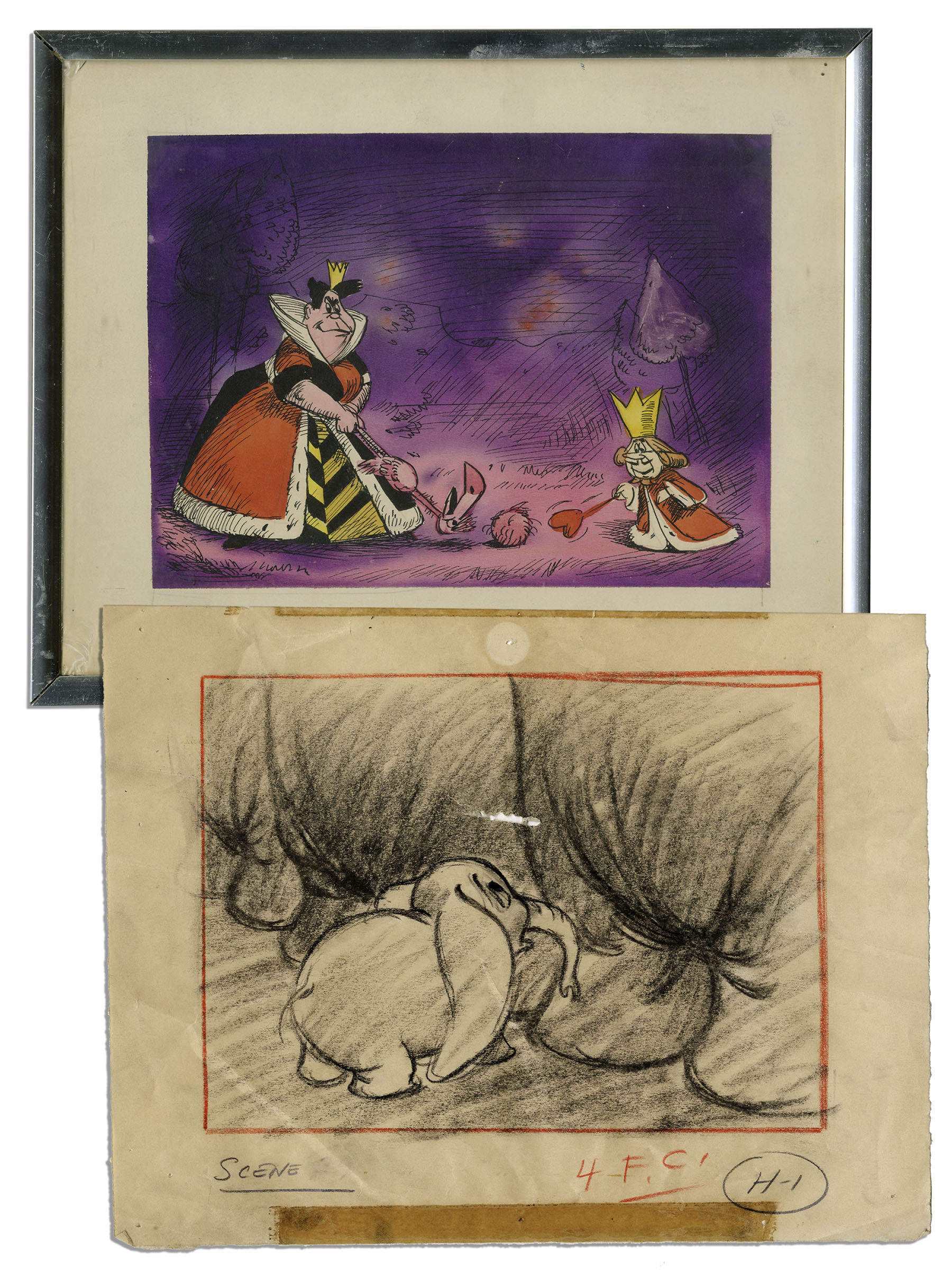 Lot Detail - Ray Bradbury Owned Lot of 2 Disney Sketches -- \'\'Alice ...
