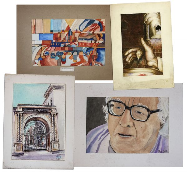 Ray Bradbury Personally Owned Art Lot of 4 Watercolor Paintings -- Including a Portrait of Bradbury