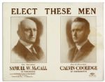 Early Calvin Coolidge Campaign Poster -- For the Massachusetts Gubernatorial Race in 1915