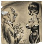 Bill Ward Hand Drawn Pin-up Art -- Large Charcoal or Conte Crayon Drawing Measures 18 x 19