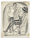 Good Girl Art Cartoonist Bill Ward Original Signed Illustration -- Portraying His Signature Risque Style