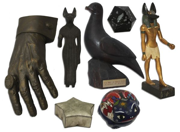 Ray Bradbury Personally Owned Objects D'Art -- Interesting Pieces Including Statues From Ancient Egyptian Lore, Painted Clay From Mexico & Geometric Obsidian Sculpture