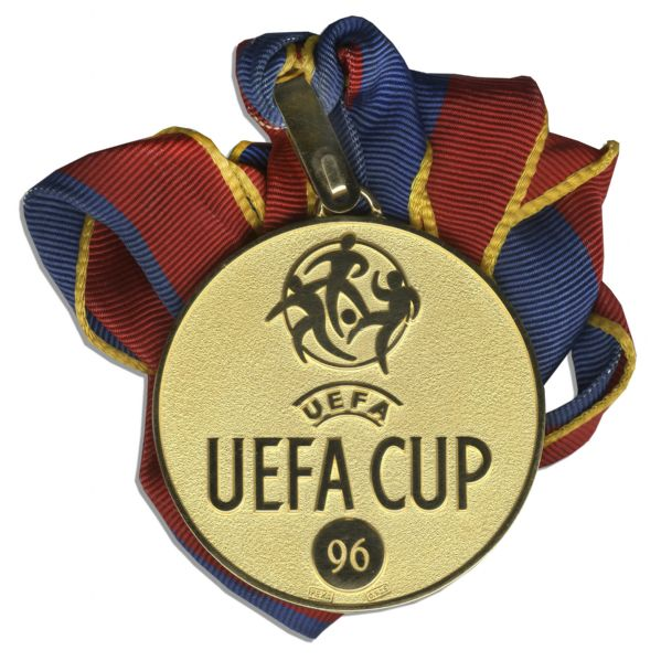 UEFA Cup Medal Won by French Soccer Legend Jean-Pierre Papin -- One of the Top 100 Greatest of All Time