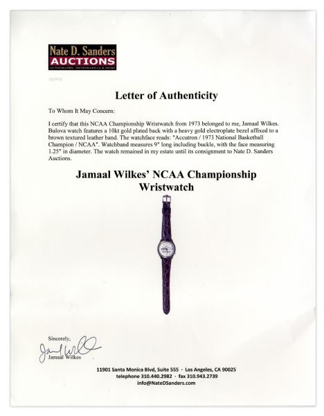 Jamaal Wilkes' NCAA Championship Wristwatch From 1973