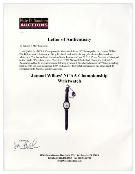 Jamaal Wilkes' NCAA Championship Wristwatch From 1972