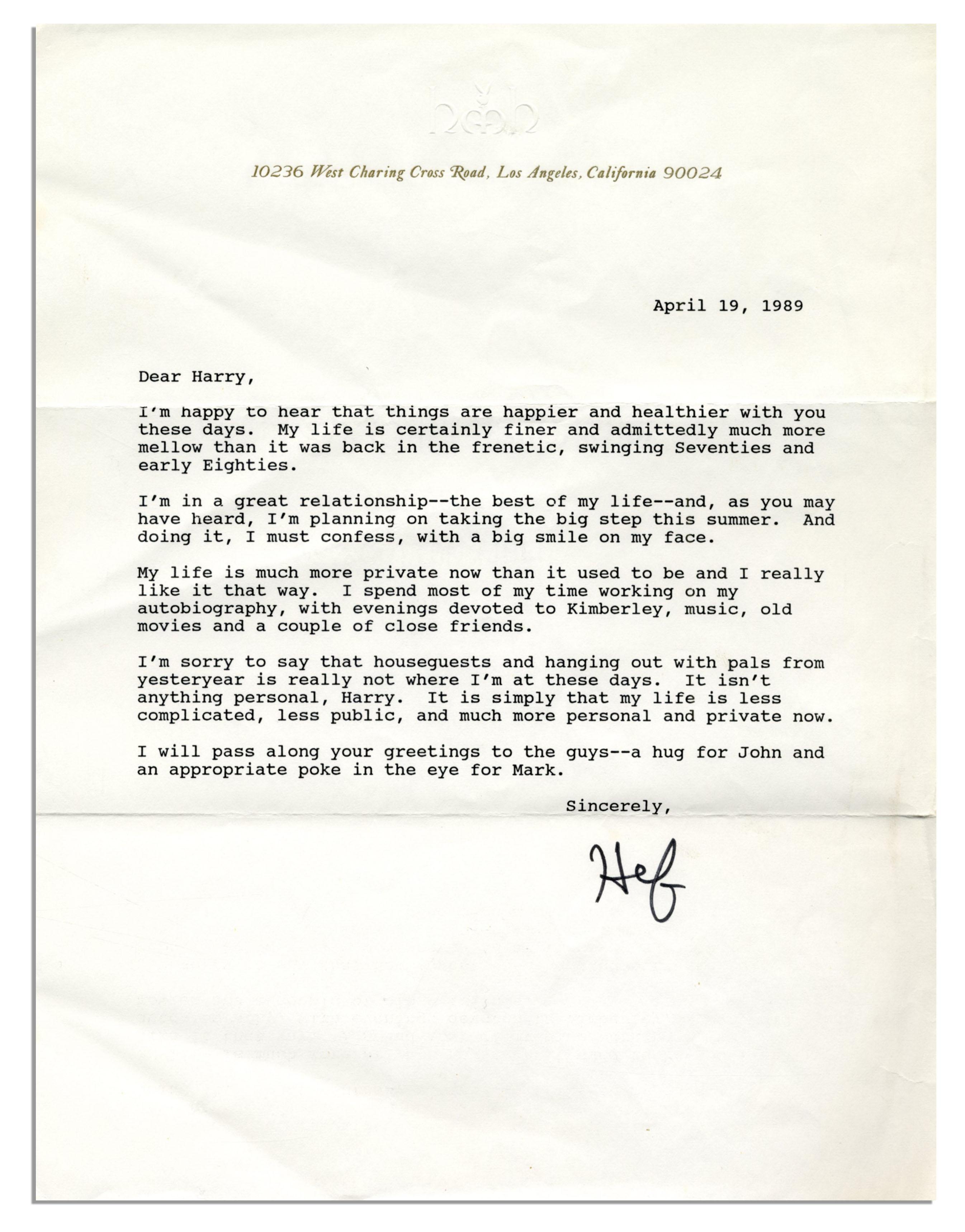 Lot Detail Hugh Hefner Signed Lot of Personal Letters Photo