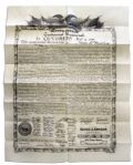 1876 Centennial Broadside Print of The Declaration of Independence