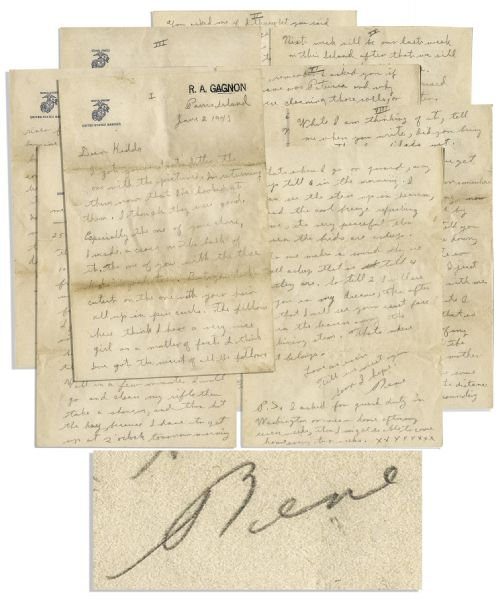 Iwo Jima Memorabilia Iwo Jima Hero Rene Gagnon WWII-Dated Autograph Letter Signed -- Ten Pages Long -- ''...even Marines get a lump in their throat and...something gets in their eyes too...they just call it dirt...''