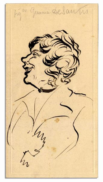 Art by Turn-of-The-Century Opera Great Enrico Caruso -- Bust Caricature Sketch