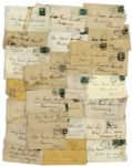 Lot of 26 George Custer Envelopes Made Out in His Hand to his Wife -- Mrs. Genl Custer