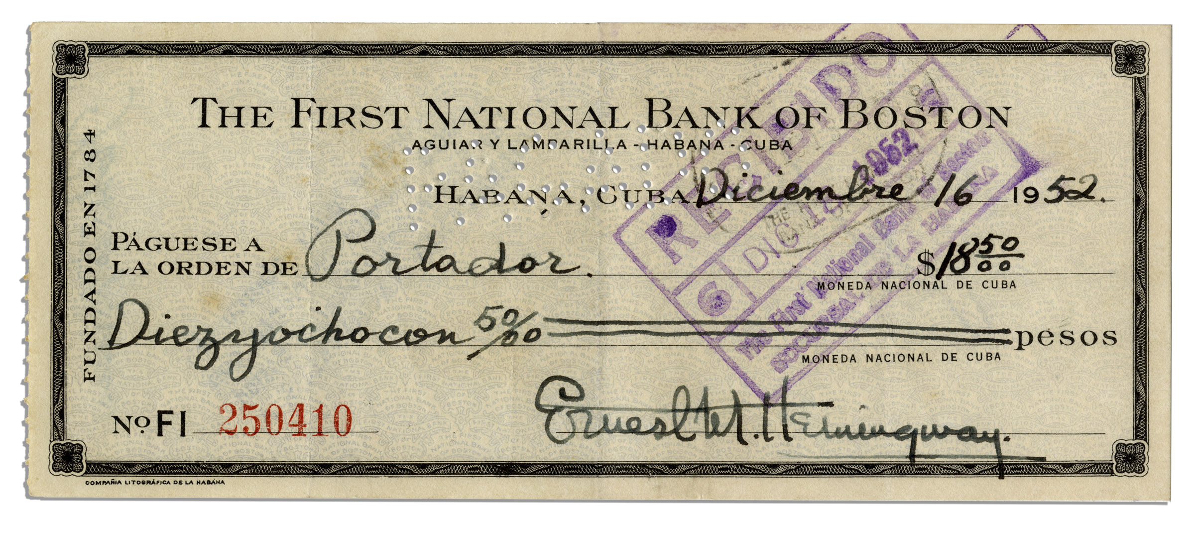 Lot Detail - Ernest Hemingway Signed Check From 1952, Filled Out ...