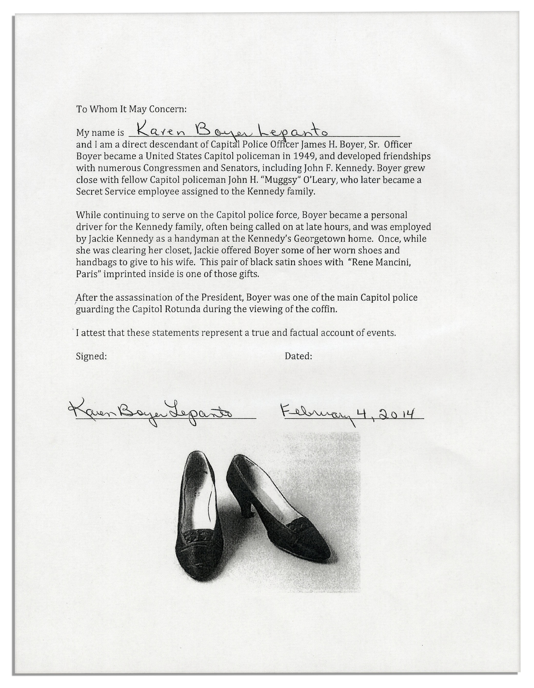 Jackie Kennedy Shoes: Jackie Kennedy Personally Owned & Worn Court
