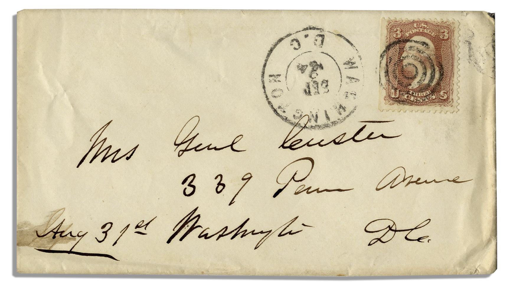 George Custer Autograph George Custer Envelope Signed