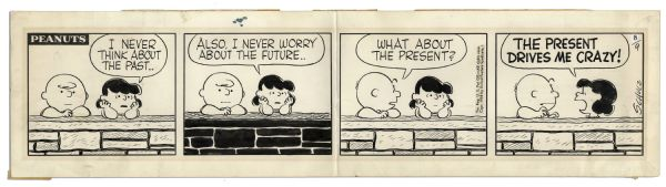 Early 1958 Hand-Drawn ''Peanuts'' Comic Strip by Charles Schulz -- Featuring the Beloved Charlie Brown & Lucy
