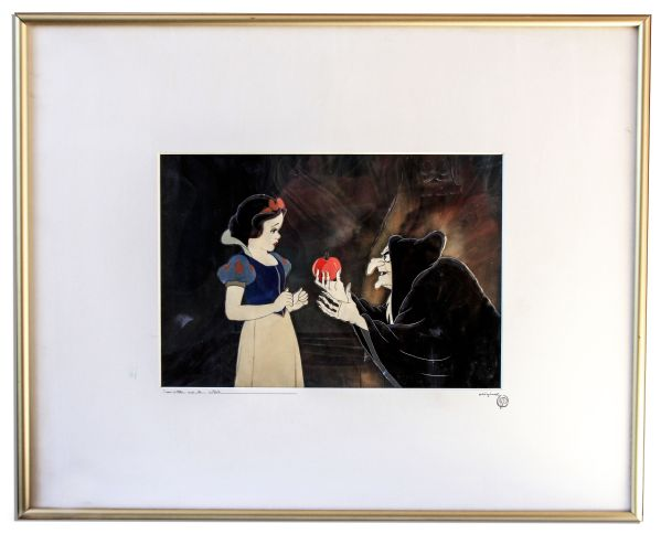 Ray Bradbury Personally Owned ''Snow White and the Seven Dwarfs'' Original Cel -- Featuring the Old Hag Handing Snow White the Poisoned Red Apple
