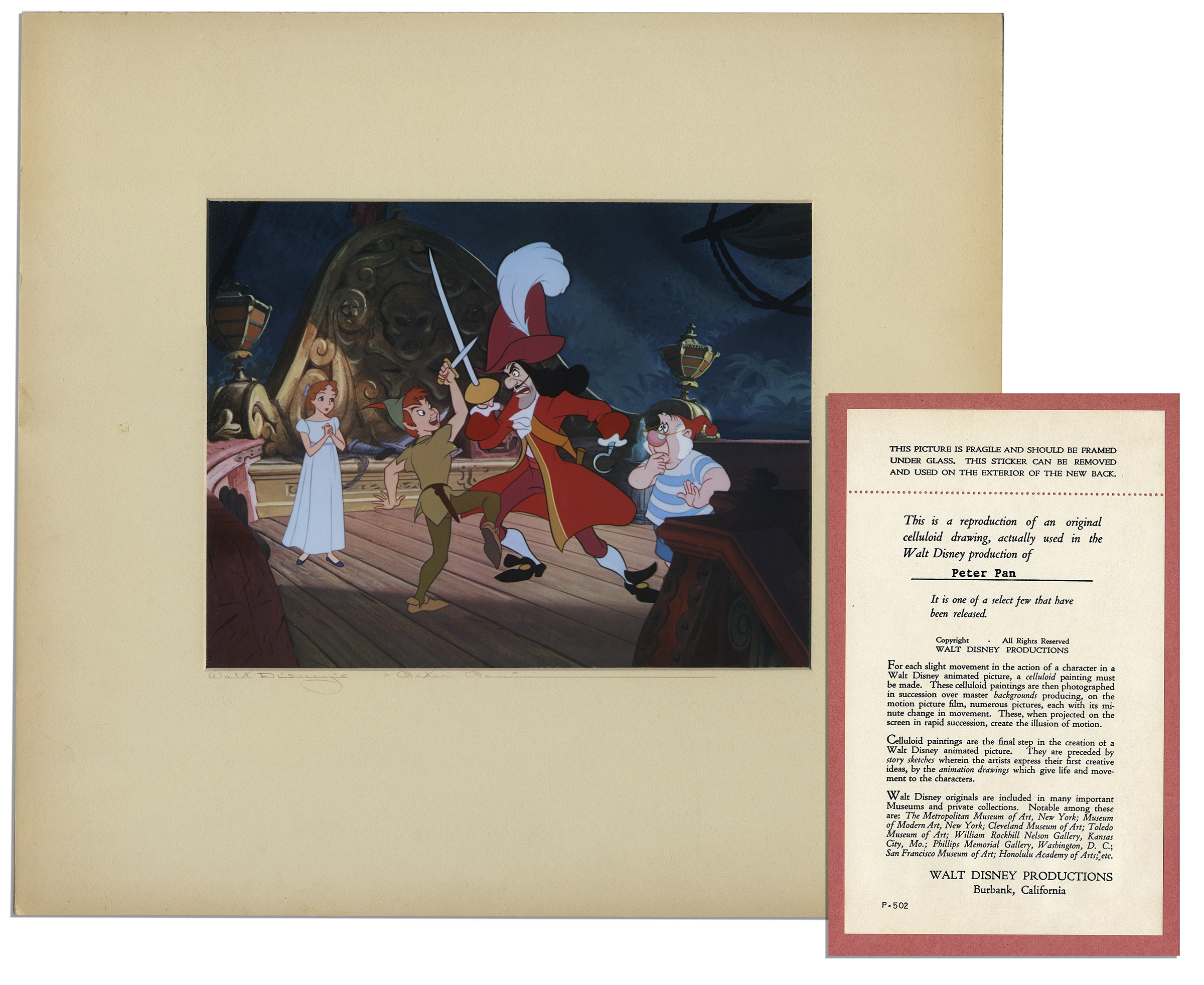 Ray Bradbury Personally Owned Reproduction Cel From Peter Pan Disney