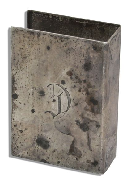 Marlene Dietrich Personally Owned ''D'' Engraved Silver-Plated Match Box