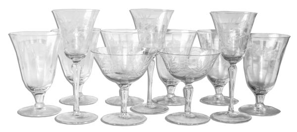 Greta Garbo's Own Set of Hand-Blown Glass Barware