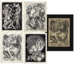 Collection of Five Hannes Bok Lithographs Personally Owned by Ray Bradbury