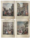 Ray Bradbury Personally Owned William Hogarth Engraving Series -- Four Times of the Day