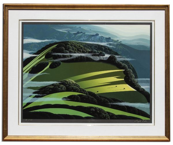 Ray Bradbury Personally Owned Art -- Limited Edition Landscape Silkscreen by Eyvind Earle Titled ''Beyond of the Valley''