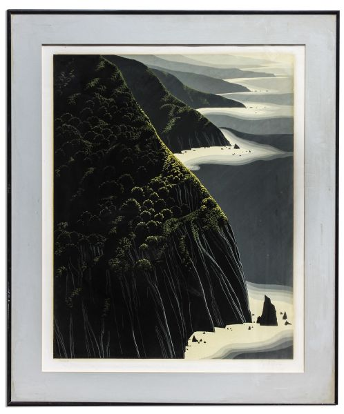 Ray Bradbury Personally Owned Art -- Limited Edition California Coastal Landscape Silkscreen by Eyvind Earle Titled ''Gray Big Sur''