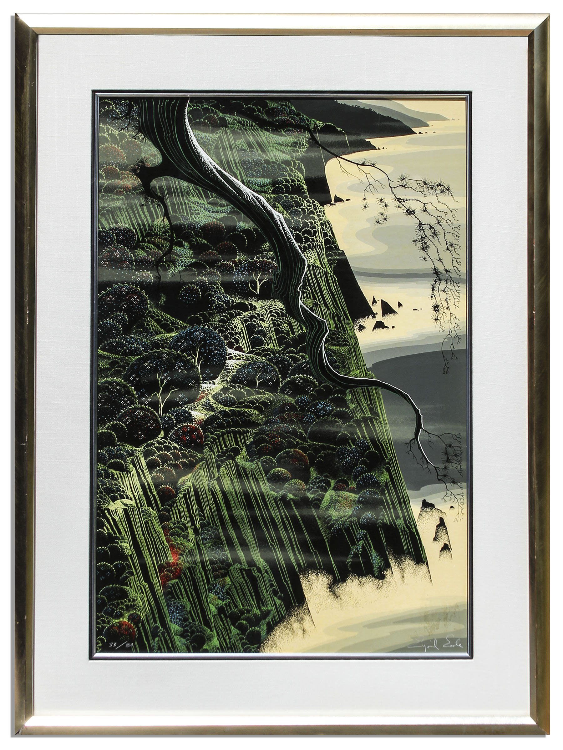 Eyvind Earle Art Ray Bradbury Personally Owned Art -- Limited Edition California Coastal Landscape Silkscreen by Eyvind Earle Titled ''From Out of The Sea''